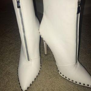 FashionNova White Stud Ankle Boot